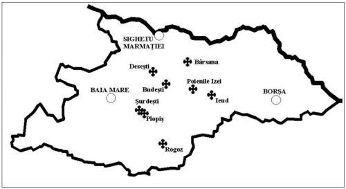 Mapa 2. Rozmieszczenie cerkwi wpisanych na Listę UNESCO na tle granic okręgu Marmarosz (północnej części Rumunii)